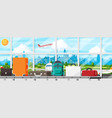 conveyor belt with passenger luggage baggage claim vector image vector image