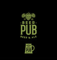 craft beer pub emblem mug sign hop cones and lette vector image vector image