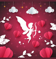 cupid angel heart - paper cloud vector image