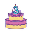 delicious cake with candle number three vector image vector image