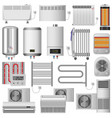electric heater device mockup set realistic style vector image vector image