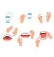floss dental steps how to use hygiene floss vector image