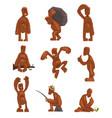 funny bigfoot cartoon character set mythical vector image