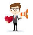 funny cartoon business man with a megaphone and vector image vector image