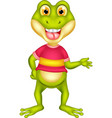 funny frog in red shirt cartoon vector image vector image
