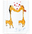 Giraffes and hearts vector image vector image