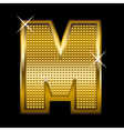 Golden font type letter M vector image vector image