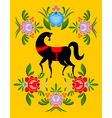 Gorodets painting Black horse and floral elements vector image vector image