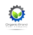 Green leaf with two gears cogs logo design vector image