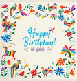 happy birthday card with flower and animal art vector image