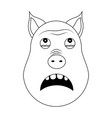 head of terrified pig in outline style kawaii vector image vector image
