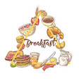 healthy breakfast hand drawn design with toasts vector image vector image