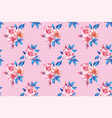 horizontal seamless pattern pink rose blue leaves vector image