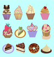 icons set of Cupcakes Dessert vector image