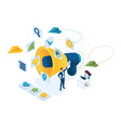 isometric marketing team work and branding vector image