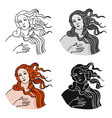 italian goddess of love icon in cartoon style vector image vector image