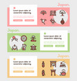 japan items color linear icons set vector image vector image