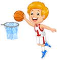 Kid playing basket vector image vector image