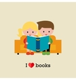 Kids sitting on sofa and reading a book vector image vector image