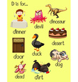 Letter D and many words for it vector image vector image