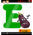 letter e with eggplant cartoon vector image vector image