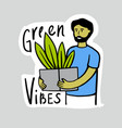 man stands with pot plants eco emblem person vector image vector image
