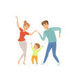 mom and dad dancing with their little son happy vector image vector image