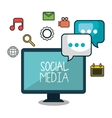 monitor social media design isolated vector image vector image