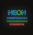 neon font clipart latin alphabet and digits on a vector image