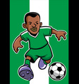 Nigeria soccer player with flag background vector image vector image