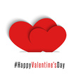 Pair red hearts Happy Valentines Day card mockup vector image