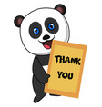 panda with thank you sign on white background vector image vector image