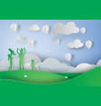paper art of green happy family having fun vector image vector image
