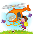 pig parachutist on helicopter vector image vector image