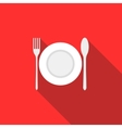 Plate spoon and fork icon flat style vector image vector image