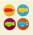 Red dirigible balloon flat icon set vector image