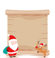 santa claus and deer parchment sign vector image vector image