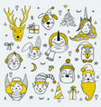 set cute cartoon christmas characters vector image