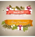 Set of Ribbons Labels Tags Merry Christmas and vector image vector image