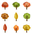 set of seasoned trees flat style vector image vector image
