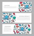 Set of three digital fish and seafood horizontal