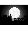 silhouette of camel trip in the night vector image