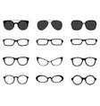 silhouettes of different eyeglasses vector image vector image