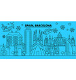 spain barcelona city winter holidays skyline vector image vector image