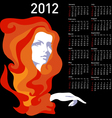 stylish calendar with woman for 2012 week starts o vector image