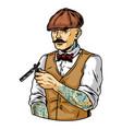 tattooed mustached barber in irish cap vector image vector image