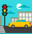 taxi car at crosswalk concept background flat vector image