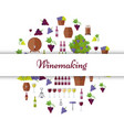 winemaking equipment seamless pattern in circle vector image
