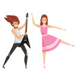 woman with guitar and ballet dancer in pink dress vector image vector image