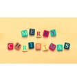 words merry christmas with colorful blocks vector image vector image
